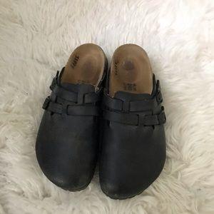 Birkenstock Black Leather Clogs